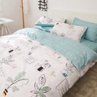 家纺纯棉小清新四件套田园简约三件套单双人1.5/1.8m床单被罩床上用品 被套加大