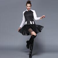 欧美秋冬新款女装黑白棒球服短款外套女长袖有口袋 黑白色