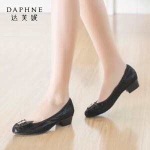 Daphne/达芙妮正品女鞋 秋季女鞋蝴蝶结亮片金属装饰浅口通勤单鞋