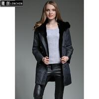 尼克服女獭兔内胆全胆真皮毛一体皮草外套冬装中长款特价 灰色 双色灰