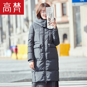 高梵2017冬季新款休闲H版中长款羽绒服女 时尚韩版保暖加厚外套潮