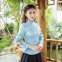 中式绣花唐装女民国青楼上衣春秋装 日常修身改良长袖旗袍茶服
