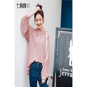 七格格蝴蝶结衬衫女装长袖2018新款春装韩版学生宽松灯笼袖上衣雪纺衬衣