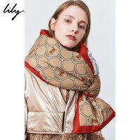 Lily2019冬新款女装复古撞色字母印花双面时尚造型感搭配围脖Z905