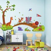 墙贴客厅幼儿园教室贴画卡通儿童房宝宝卧室卡通装饰贴纸动物过桥