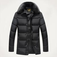 新款中年男士加厚毛领外套爸爸装父亲冬装毛领中年中老年棉衣男