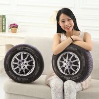 个性创意男孩玩具 车载居家抱枕 3d汽车轮胎轱辘毛绒靠垫