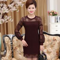 中老年女装妈妈装春夏连衣裙中长款大码长袖打底衫时尚性感蕾丝衫