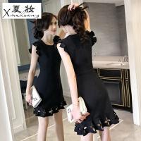 夏妆女士连衣裙夏天新款韩版显瘦气质潮时尚a字短裙子小性感女装 黑色