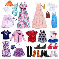 【支持礼品卡】芭比娃娃搭配饰品衣服套装包包高跟鞋子项链时尚配件女孩换装v7z