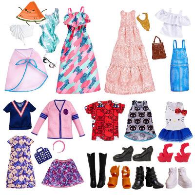 【支持礼品卡】芭比娃娃搭配饰品衣服套装包包高跟鞋子项链时尚配件女孩换装v7z 时尚随心搭配   款式多选