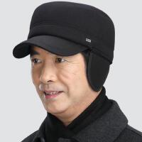 冬季中老年帽子男士冬天老头毛呢平顶老年军帽护耳鸭舌中年老人帽
