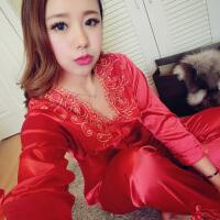 2016喜庆结婚大红真丝两件套睡衣可爱性感诱惑公主丝绸长袖家居服