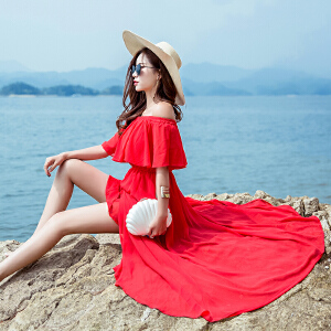 RANJU 然聚2018女装夏季新品新款一字领露肩显瘦连衣裙马尔代夫海边度假开叉沙滩长裙