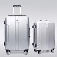 七夕礼物铝框行李箱20寸女拉杆箱24旅行登机箱学生密码商务男皮箱 银白色【铝框款】 24寸