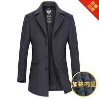 男士风衣秋冬季中长款中青年韩版修身毛呢子大衣男装帅气妮子外套 灰色 0