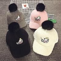 儿童鸭舌帽秋冬毛绒棒球帽女宝宝帽子保暖韩版潮男童大毛球棒球帽