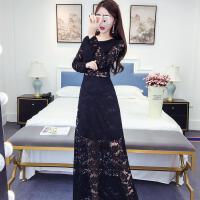 2018春装韩版紧身显瘦名媛性感时尚长裙鱼尾包臀蕾丝连衣裙礼服裙