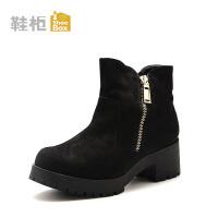 Daphne/达芙妮旗下鞋柜 秋冬潮流时尚女靴中粗跟侧拉链休闲短靴女鞋时尚