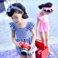 女童泳衣韩国童装夏装宝宝可爱条纹游泳衣韩版儿童分体裙式比基尼