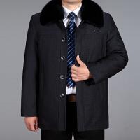 中老年棉衣男父冬装加厚棉袄爸爸装大码可脱卸内胆尼克服外套男 黑灰色