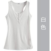 吊带背心女夏外穿韩版纽扣修身百搭上衣棉工字无袖T恤运动打底衫 白色 纽扣螺纹
