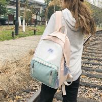 森系双肩包女帆布韩版高中学生校园大容量背包百搭少女书包