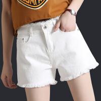 白色牛仔短裤女夏季高腰a字毛边大码显瘦宽松阔腿学生休闲热裤潮