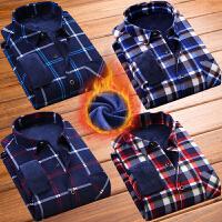 男士冬装保暖格子衬衫商务修身上衣男加绒加厚韩版中年男长袖衬衣