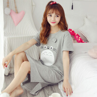 可爱龙猫睡裙女夏韩版清新学生睡衣短袖可外穿宽松孕妇家居服 灰色 MS#9812带耳龙猫