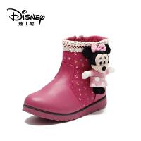 【达芙妮集团】 迪士尼儿童靴子女童冬季鞋加绒短靴冬季宝宝鞋