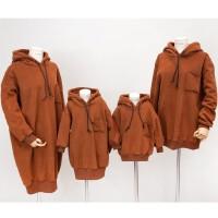冬季新款童装一家三口加绒连帽卫衣中长款韩版亲子装冬家庭装