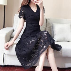AGECENTRE 短袖蕾丝连衣裙女夏装2018新款韩版v领过膝长裙大摆显瘦A字型裙子