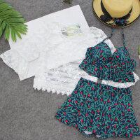 分体泳衣女三件套性感比基尼裙式蕾丝罩衫遮肚显瘦小香风泡温泉装 蓝花