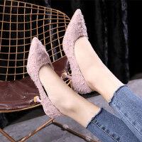 时尚晚晚鞋韩版百搭尖头浅口高跟鞋女 新款粗跟中跟单鞋女粉色气质细跟鞋子