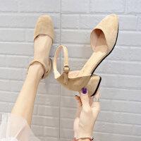 户外单鞋女时尚韩版百搭粗跟方头一字带仙女休闲晚晚鞋子