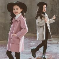 女童呢子大衣新款童装儿童秋冬装毛呢双面尼中长款外套