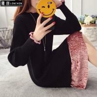 针织连衣裙女秋冬新款韩版中长款宽松拼接套头长袖毛衣裙 均码