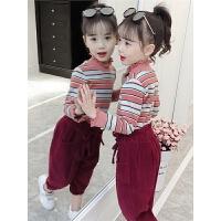 儿童洋气套装2018新款韩版秋季两件套中大童花边领潮衣女孩