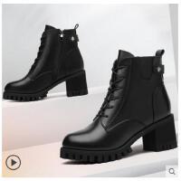 古奇天伦秋冬季新款粗跟女靴子加绒韩版高跟马丁靴英伦冬天女鞋子短靴