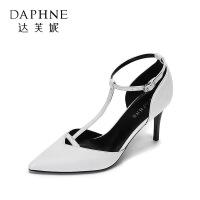 【达芙妮年货节】Daphne/达芙妮 春夏优雅尖头超高跟鞋 时尚丁字型扣带细跟单鞋女
