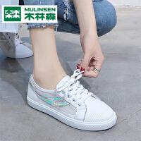 木林森帆布鞋女夏季小白鞋女2019新款网面镂空透气白色板鞋休闲鞋女