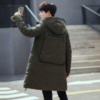 加厚保暖鸭绒中长款羽绒服男冬季韩版修身青少年学生帅气羽绒衣潮