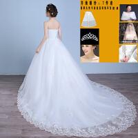 婚纱新款新娘结婚礼服女冬季韩版显瘦修身齐地长拖尾孕妇抹胸 XXL 腰围2尺3