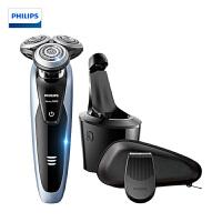 飞利浦(Philips) 电动剃须刀 荷兰进口 三刀头充电式多功能理容 全身水洗 刮胡刀(带智能清洁器)S9051