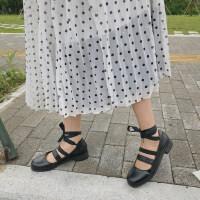 新款韩版ulzzang原宿系带港风复古休闲粗跟单鞋圆头小皮鞋女