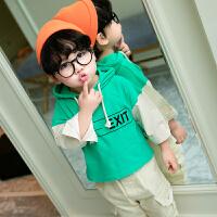 男童卫衣童装春秋新款长袖t恤中小童拼接儿童帅气假两件
