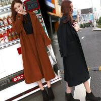 毛呢外套女中长款秋冬新款韩版修身显瘦长袖加厚茧型呢子大衣