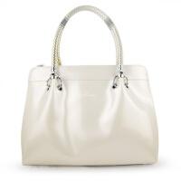 韩版秋冬时尚商务女士手提包单肩包公文包亮宝蓝色漆皮女包包 米白色