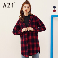 A21秋冬女装长袖红格子衬衫女 中长款宽松秋装新款连帽衬衣女上衣
